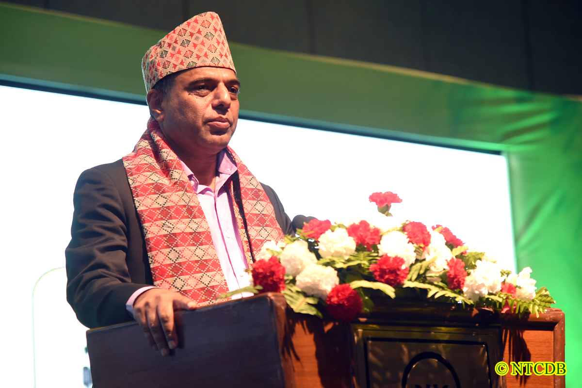 Hon. Minister Chakrapani Khanal addressing the inaugural of 3rd Int'l Tea Festival