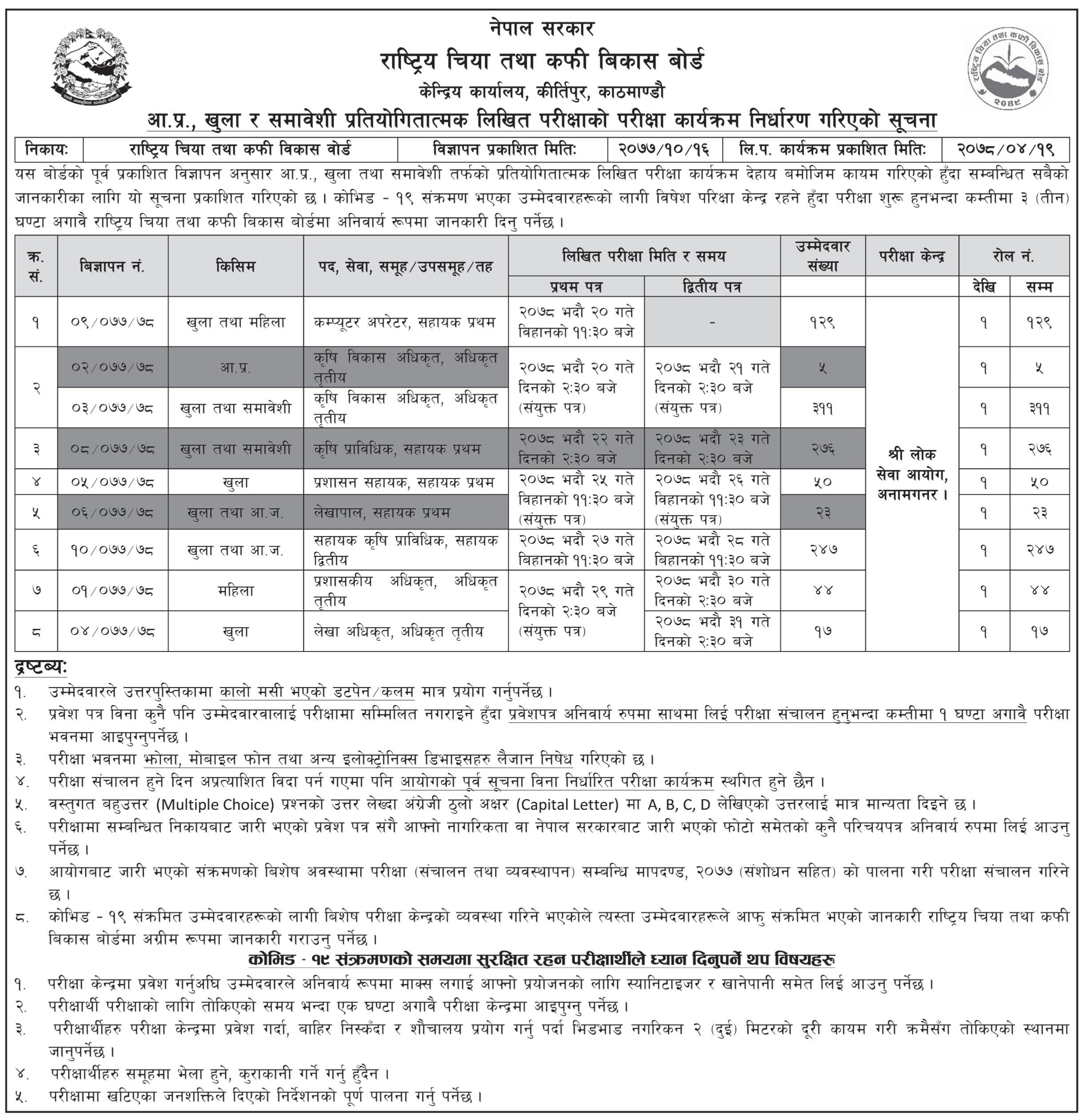 Vacancy Examination Notice