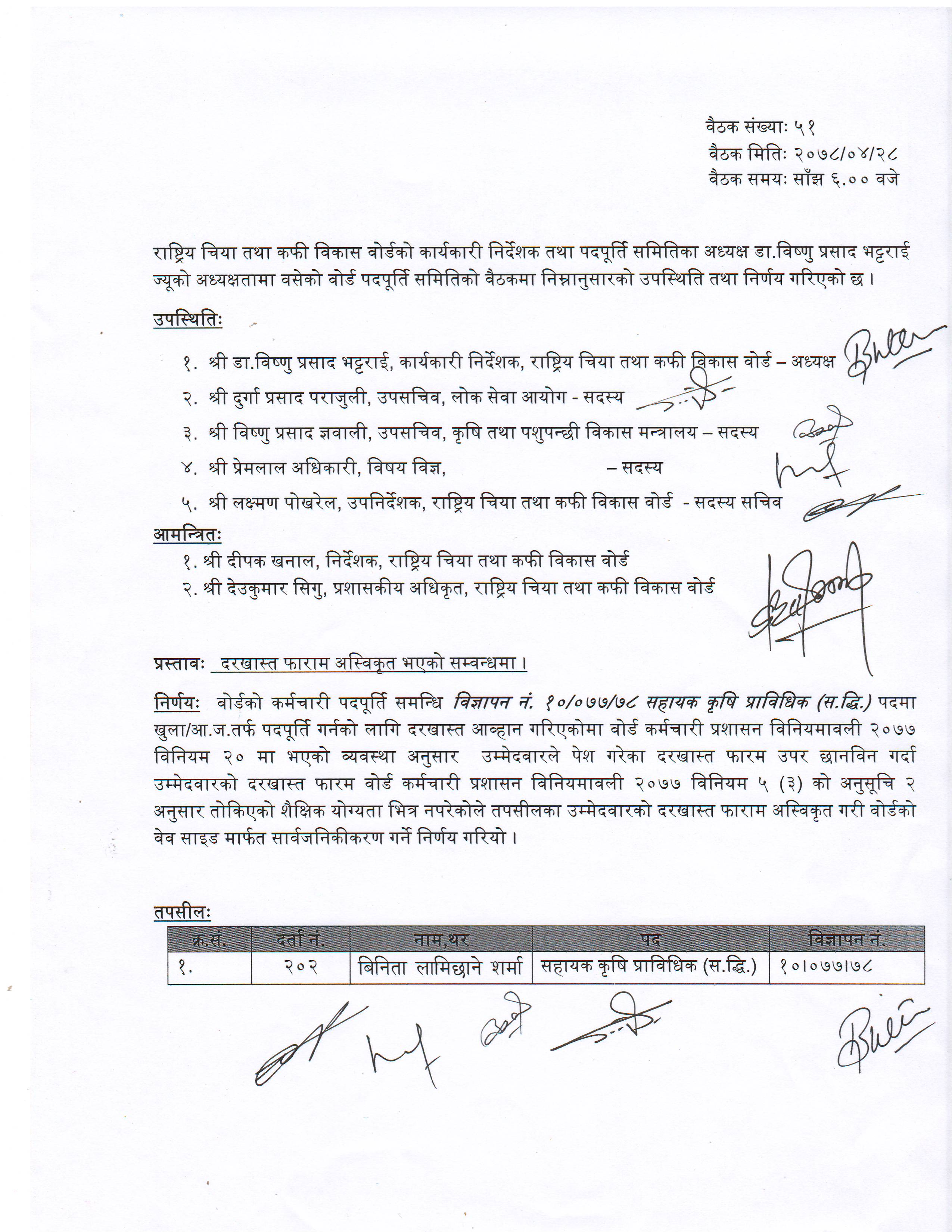 Vacancy information